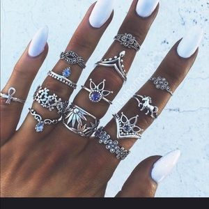 """💍New: Boho Chic-13 Piece Ring Set in""""Silver"""".💍"""